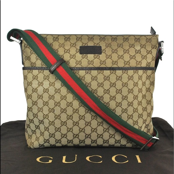 988f9d0bd4c Gucci Handbags - Authentic GUCCI large crossbody bag brown canvas